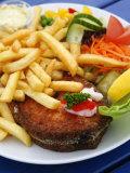 Fried Laks with Chips  Jutland  Denmark  Scandinavia  Europe