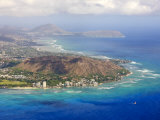 Aerial of Honolulu and Diamond Head  Oahu  Hawaii