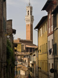 View of the Torre Del Mangia and Old Streets in Siena  Tuscany  Italy  Europe