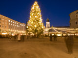 Christmas Tree and Stalls of Historical Salzburg Christkindlmarkt