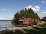 Truck Transporting Timber  Highway Number 14  Beside Lake Puruvesi  Punkaharju Nature Reserve