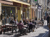 Terrace Tables Outside the Many Cafes and Restaurants on Rue De Lille in Old Quarter of Boulogne