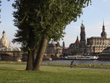 River Elbe  Hofkirche  Castle  and Frauenkirche  Dresden  Saxony  Germany