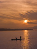 Fishermen at Sunset on the Amazon River  Brazil  South America
