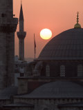 Sun Setting Behind Mahamut Pasha Mosque  Istanbul  Turkey  Europe