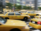 Moving New York Taxis  Manhattan  New York  United States of America  North America