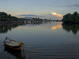 Sampan Ferry on the Sarawak River in the Centre of Kuching City at Sunset  Sarawakn Borneo