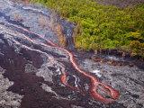 Lava Flowing from Kilauea Volcano  Hawaii Volcanoes National Park  the Big Island  Hawaii