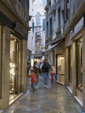 Illuminated Window Displays in Small Street  San Marco  Venice  Veneto  Italy  Europe