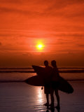 Two Surfers Calling it a Day  Kuta Beach  Bali  Indonesia  Southeast Asia  Asia