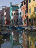 Pastel Coloured Houses Reflected in a Canal  Burano  Venetian Lagoon  Venice  Veneto