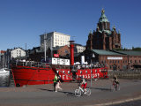 Red Boat and Restaurant at North Harbour  with Uspenski Cathedral in the Background  Helsinki