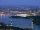 Night View of City Skyline and Lions Gate Bridge  from Cypress Provincial Park  Vancouver