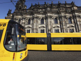 Trams in Theatre-Platz  Dresden  Saxony  Germany  Europe