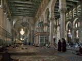 Interior of Omayad Mosque in the Old City  Damascus  Syria  Middle East