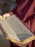 Monk Holding Buddhist Prayer Book  Rumtek Gompa  Gangtok  Sikkim  India  Asia