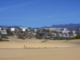 Maspalomas Dunes with Hotels in the Background  Gran Canaria  Canary Islands  Spain  Europe
