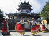 Girls Dancing in Traditional Costume  Zhangjiajie Forest Park  Wulingyuan Scenic Area  Asia