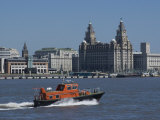 View of the Liverpool Skyline and the Liver Building  Taken from the Mersey Ferry