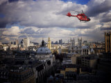 London Air Ambulance over Westminster  London  England  United Kingdom  Europe