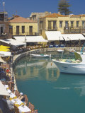 Old Port and Restaurants  Rethymnon  Crete  Greek Islands  Greece  Europe