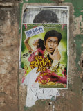 Shahruk Khan in Torn Bollywood Movie Poster on Wall  Hospet  Karnataka  India  Asia
