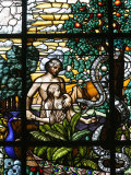 Stained Glass of Adam and Eve in the Garden of Eden  Vienna  Austria  Europe