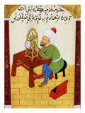 Scholar Studying the Workings of a Clock  Ottoman Manuscript  17th century