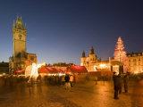 Christmas Market at Staromestske with Gothic Old Town Hall  Stare Mesto