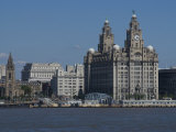 View of the Liverpool Skyline and the Liver Building  from the Mersey Ferry