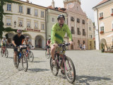 Cyclists Riding Through Namesti in Town of Mikulov  Brnensko Region
