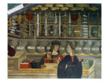 Detail Pharmacy or Chemist Measuring with Scales  15th century Italian Gothic Fresco