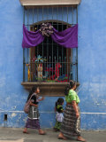 Window Adorned for Holy Week Procession  Antigua  Guatemala  Central America