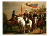 Simn Bolr Presenting Flag of Liberation after Battle of Carabobo  24 June 1821