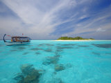 Dhoni and Deserted Island  Maldives  Indian Ocean  Asia