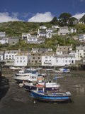 Boats in Polperro Harbour at Low Tide  Cornwall  England  United Kingdom  Europe