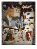 January or Aquarius with Courtiers in Snowball Fight Outside Stenico Castle  c1400
