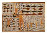 Aboriginal Bark Painting of Ritual Dance  from Yrrkala  Australia