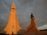 The Cathedral of Domkirkjan  Lit by the Midnight Sun  Reykjavik  Iceland  Polar Regions