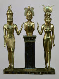 Horus and Isis to Either Side of Osiris upon a Column  Third Intermediate Period 985-715 BC