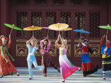 Girls Dancing with Coourful Parasols at the Ethnic Minorities Park  Beijing  China  Asia