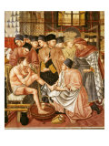 Doctor Giving Treatment to Sick Man with Cut on Leg  Fresco  by Domenico di Bartolo  1443