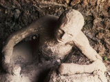 Body of Man Petrified by Ash from Eruption of Vesuvius in 79 AD  Pompeii  Italy