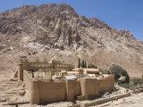 St Catherine's Monastery  with Shoulder of Mount Sinai Behind  Sinai Peninsula Desert  Egypt