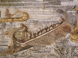 Boat Carrying Soldiers Down the River Nile  Mosaic Pavement  c 80 BC Roman  Praenesta  Italy