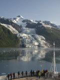 Passengers on Cruise Ship Viewing the Vasser Glacier  College Fjord  Inside Passage  Alaska