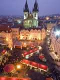 Christmas Market at Staromestske with Gothic Tyn Cathedral  Stare Mesto