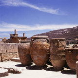 Greece: Carved Stone Pots on Archaeological Site  Knossos  Aegean Island of Crete