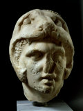 Alexander the Great 356-323 BC  Pentelic Marble Head Wearing Lion Head Helmet