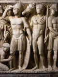 The Hero Achilles Putting on his Armour  Achilles at Court of King Lycomedes  Marble Sarcophagus